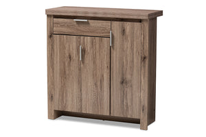 Baxton Studio Laverne Modern and Contemporary Oak Brown Finished Shoe Cabinet Image 5