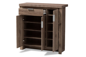 Baxton Studio Laverne Modern and Contemporary Oak Brown Finished Shoe Cabinet Image 6