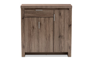 Baxton Studio Laverne Modern and Contemporary Oak Brown Finished Shoe Cabinet Image 7