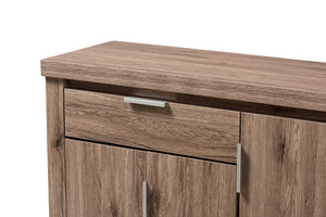 Baxton Studio Laverne Modern and Contemporary Oak Brown Finished Shoe Cabinet Image 9