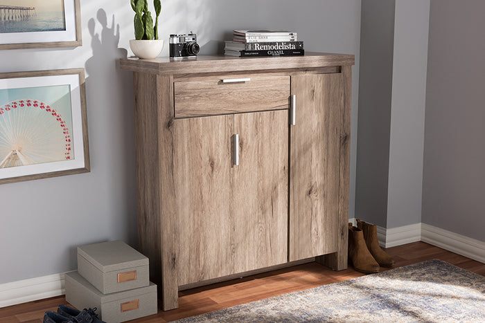 Baxton Studio Laverne Modern and Contemporary Oak Brown Finished Shoe Cabinet