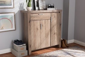 Baxton Studio Laverne Modern and Contemporary Oak Brown Finished Shoe Cabinet Image 4