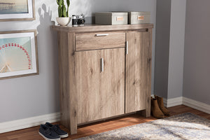 Baxton Studio Laverne Modern and Contemporary Oak Brown Finished Shoe Cabinet Image 11
