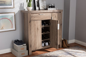 Baxton Studio Laverne Modern and Contemporary Oak Brown Finished Shoe Cabinet Image 12
