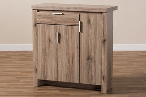 Baxton Studio Laverne Modern and Contemporary Oak Brown Finished Shoe Cabinet Image 13