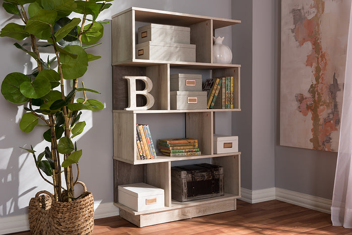 Baxton Studio Teagan Modern and Contemporary Oak Finished Display Bookcase