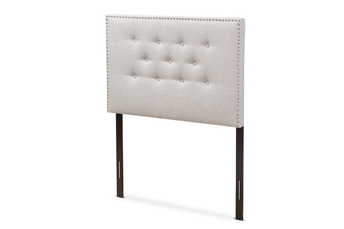 Baxton Studio Windsor Modern and Contemporary Greyish Beige Fabric Upholstered Twin Size Headboard