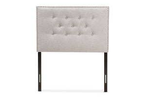 Baxton Studio Windsor Modern and Contemporary Greyish Beige Fabric Upholstered Twin Size Headboard-Headboards & Footboards-HipBeds.com