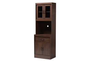 Baxton Studio Laurana Modern and Contemporary Dark Walnut Finished Kitchen Cabinet and Hutch Image 5