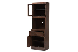 Baxton Studio Laurana Modern and Contemporary Dark Walnut Finished Kitchen Cabinet and Hutch Image 6