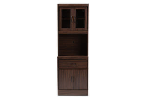 Baxton Studio Laurana Modern and Contemporary Dark Walnut Finished Kitchen Cabinet and Hutch Image 7