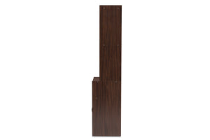 Baxton Studio Laurana Modern and Contemporary Dark Walnut Finished Kitchen Cabinet and Hutch Image 8