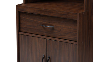 Baxton Studio Laurana Modern and Contemporary Dark Walnut Finished Kitchen Cabinet and Hutch Image 9