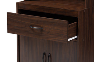 Baxton Studio Laurana Modern and Contemporary Dark Walnut Finished Kitchen Cabinet and Hutch Image 10