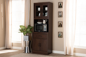 Baxton Studio Laurana Modern and Contemporary Dark Walnut Finished Kitchen Cabinet and Hutch Image 3