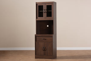 Baxton Studio Laurana Modern and Contemporary Dark Walnut Finished Kitchen Cabinet and Hutch Image 12