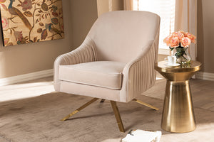 Baxton Studio Amaya Luxe and Glamour Light Beige Velvet Fabric Upholstered Gold Finished Base Lounge Chair Image 3