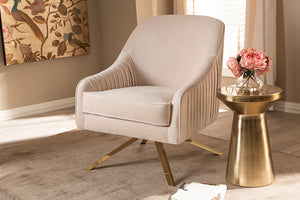 Baxton Studio Amaya Luxe and Glamour Light Beige Velvet Fabric Upholstered Gold Finished Base Lounge Chair Image 4