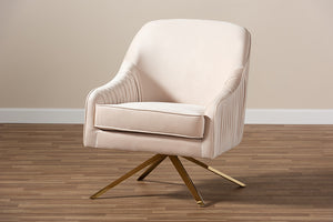 Baxton Studio Amaya Luxe and Glamour Light Beige Velvet Fabric Upholstered Gold Finished Base Lounge Chair Image 12