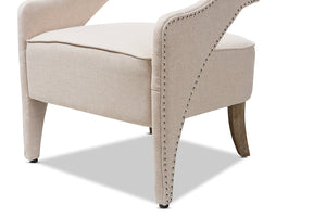 Baxton Studio Floriane Modern and Contemporary Beige Fabric Upholstered Lounge Chair Image 9