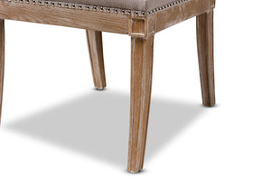 Baxton Studio Charmant French Provincial Beige Fabric Upholstered Weathered Oak Finished Wood Dining Chair Image 10