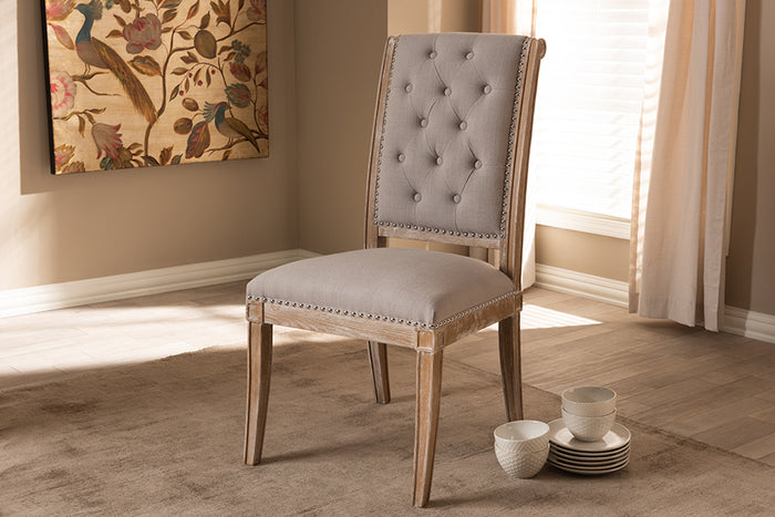 Baxton Studio Charmant French Provincial Beige Fabric Upholstered Weathered Oak Finished Wood Dining Chair
