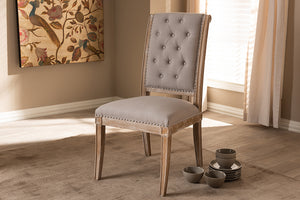 Baxton Studio Charmant French Provincial Beige Fabric Upholstered Weathered Oak Finished Wood Dining Chair Image 4