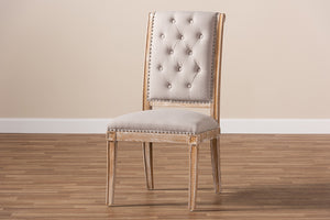Baxton Studio Charmant French Provincial Beige Fabric Upholstered Weathered Oak Finished Wood Dining Chair Image 12
