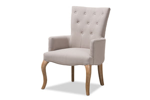 Baxton Studio Clotille French Provincial Beige Fabric Upholstered Whitewashed Oak Lounge Chair Image 5