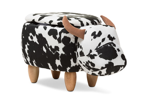 Baxton Studio Mignonne Contemporary Wool Upholstered Buffalo Storage Ottoman-Ottomans-HipBeds.com