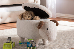 Baxton Studio Pecora Contemporary Wool Upholstered Sheep Storage Ottoman-Ottomans-HipBeds.com