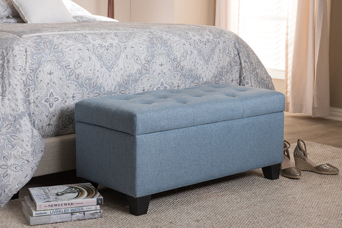 Baxton Studio Michaela Modern and Contemporary Light Blue Fabric Upholstered Storage Ottoman