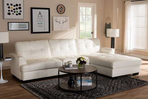 Baxton Studio Adalynn Modern and Contemporary White Faux Leather Upholstered Sectional Sofa-Sectional Sofas-HipBeds.com