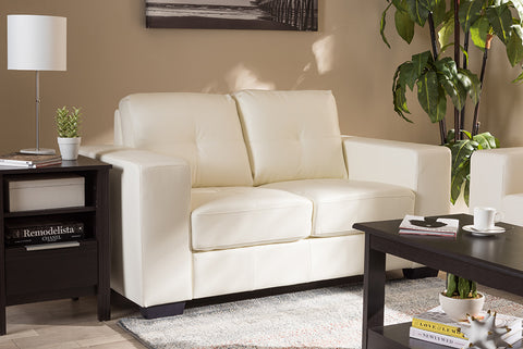 Baxton Studio Adalynn Modern and Contemporary White Faux Leather Upholstered Loveseat-Sofas & Loveseats-HipBeds.com