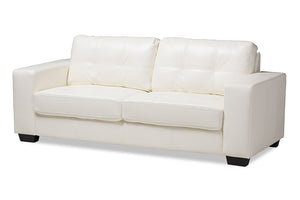 Baxton Studio Adalynn Modern and Contemporary White Faux Leather Upholstered Sofa-Sofas & Loveseats-HipBeds.com