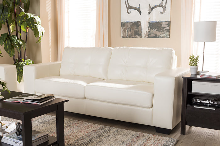 Baxton Studio Adalynn Modern and Contemporary White Faux Leather Upholstered Sofa