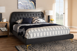 Baxton Studio Ingrid Glam and Luxe Dark Grey Fabric Upholstered Gold Finished Legs Queen Size Platform Bed Image 3