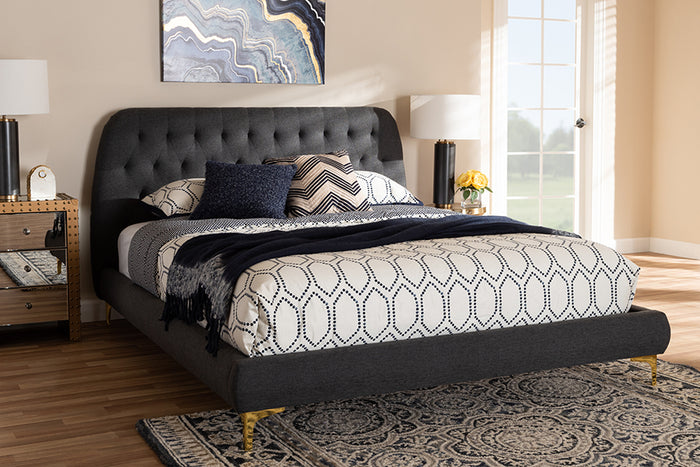 Baxton Studio Ingrid Glam and Luxe Dark Grey Fabric Upholstered Gold Finished Legs King Size Platform Bed