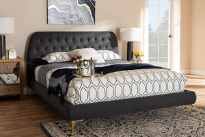 Baxton Studio Ingrid Glam and Luxe Dark Grey Fabric Upholstered Gold Finished Legs King Size Platform Bed Image 4