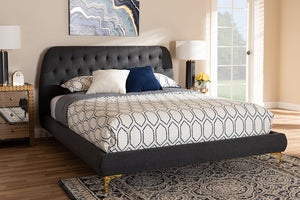 Baxton Studio Ingrid Glam and Luxe Dark Grey Fabric Upholstered Gold Finished Legs King Size Platform Bed Image 10