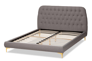 Baxton Studio Ingrid Glam and Luxe Light Grey Fabric Upholstered Gold Finished Legs Queen Size Platform Bed Image 7