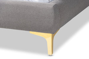Baxton Studio Ingrid Glam and Luxe Light Grey Fabric Upholstered Gold Finished Legs King Size Platform Bed Image 9