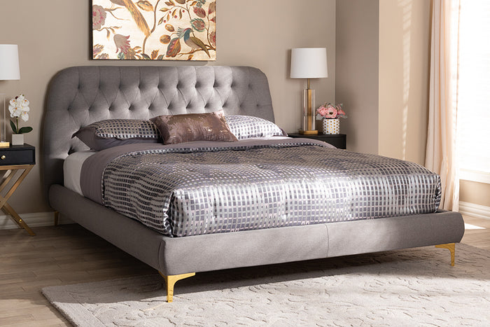 Baxton Studio Ingrid Glam and Luxe Light Grey Fabric Upholstered Gold Finished Legs Queen Size Platform Bed