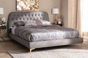Baxton Studio Ingrid Glam and Luxe Light Grey Fabric Upholstered Gold Finished Legs King Size Platform Bed Image 4