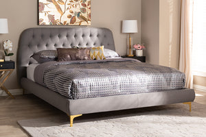 Baxton Studio Ingrid Glam and Luxe Light Grey Fabric Upholstered Gold Finished Legs King Size Platform Bed Image 10