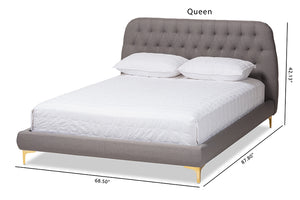 Baxton Studio Ingrid Glam and Luxe Light Grey Fabric Upholstered Gold Finished Legs King Size Platform Bed Image 13