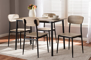 Baxton Studio Honore Mid-Century Modern Light Brown Wood Finished Matte Black Frame 5-Piece Dining Set-Dining Sets-HipBeds.com