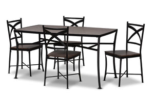 Baxton Studio Josie Rustic and Industrial Brown Wood Finished Matte Black Frame 5-Piece Dining Set Image 5