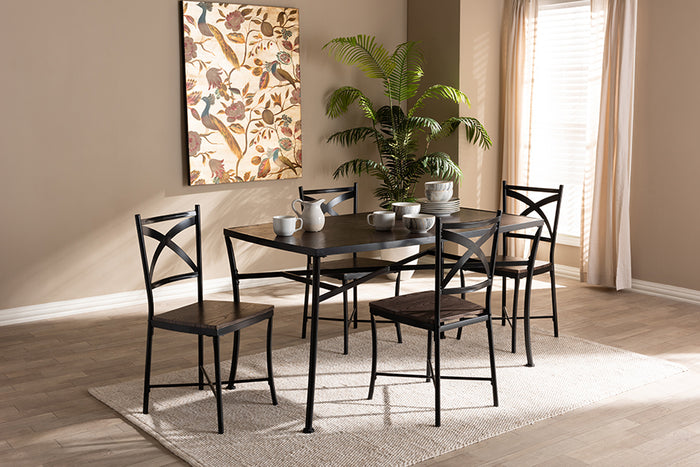 Baxton Studio Josie Rustic and Industrial Brown Wood Finished Matte Black Frame 5-Piece Dining Set