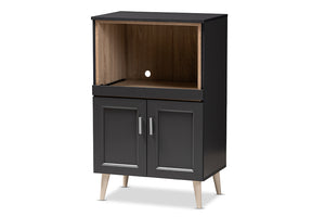 Baxton Studio Tobias Modern and Contemporary Dark Grey and Oak Brown Finished Kitchen Cabinet Image 5